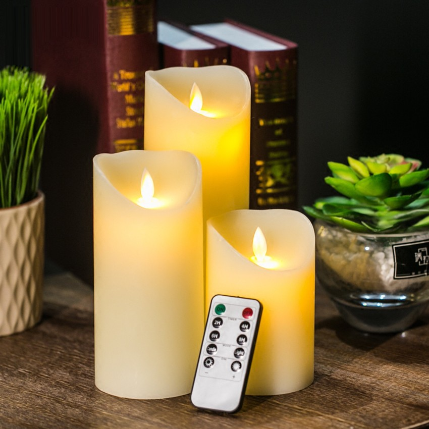 3pcs/lot Remote Control LED Candle Ivory Color Pillar Candles With Timer Velas Bougie For Home Birthday Party Wedding Decoration