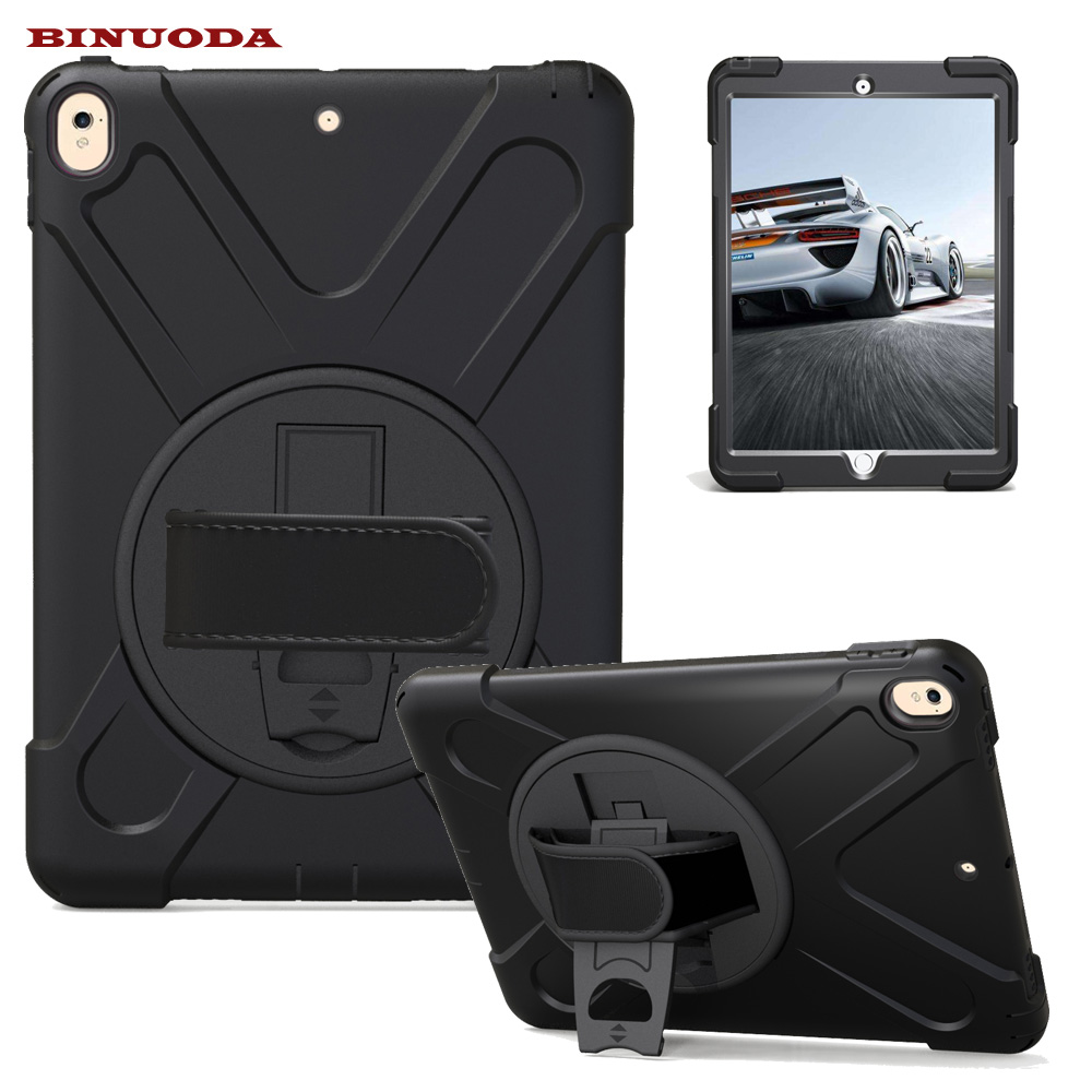 For iPad Pro 10.5 Case Rotate Heavy Duty Hybird PC Rubber with Hand Strap Stand Cover Case for Apple iPad Pro 10.5 inch Tablet