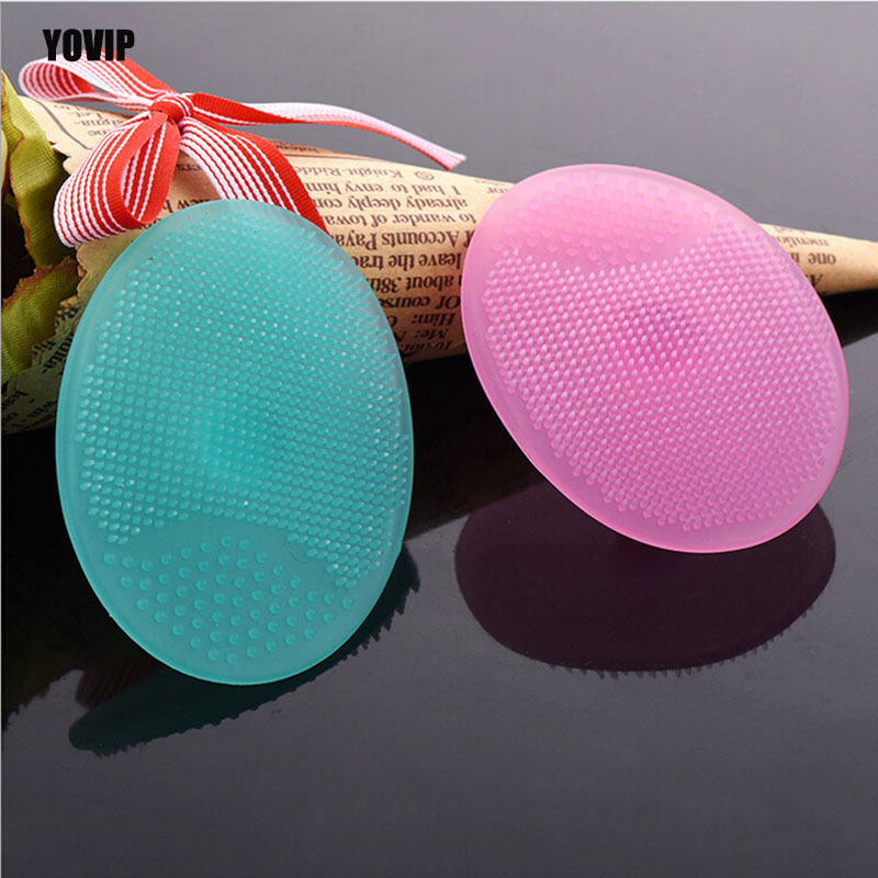 Imagen de Silicone Beauty Wash Pad Face Blackhead Facial Cleansing Brush Tool Soft Silicone Round Shape Beauty Powder Puff