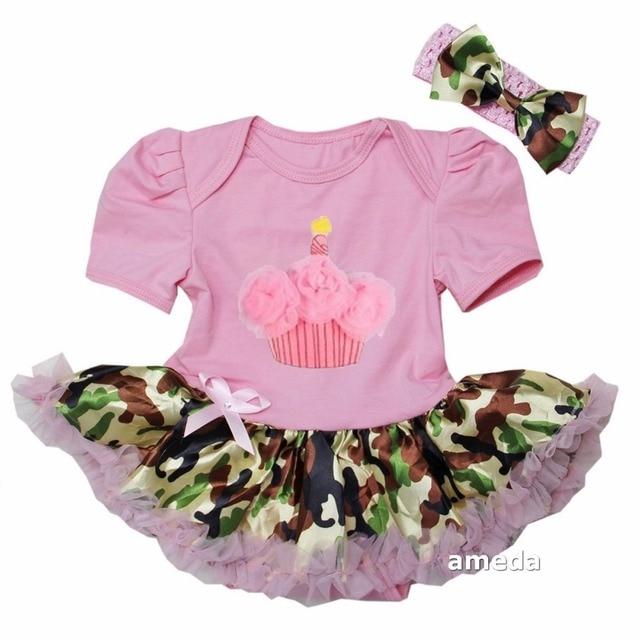 Bebé cumpleaños cupcake light pink camo body tutu dress romper en ...