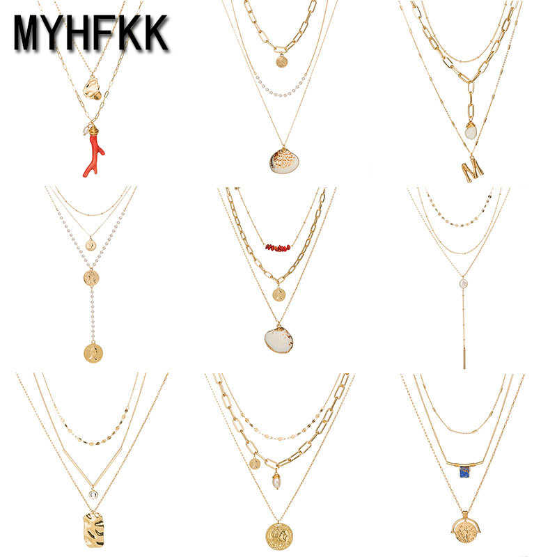 MYHFKK2019 hot sale fashion beach shell starfish pendant ladies necklace girl gift retro gold necklace bohemian necklace XL054