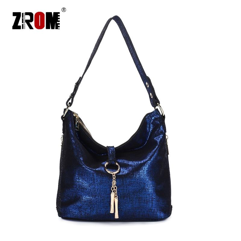 ZROM Brand Genuine Leather Women Fashion Handbag High Quality Ladies Solid color Shoulder Bag Top handle