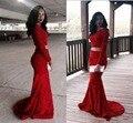 2017 Two Pieces Red Sexy Sereia Vestidos de Baile Árabe Mangas Compridas Rendas Africano Contas Sequins Evening Formal Vestidos de Festa