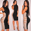 7 Colors High Quality Black Blue Pink Red Sleeveless Side Hollow Out Rayon Bandage Dress Evening