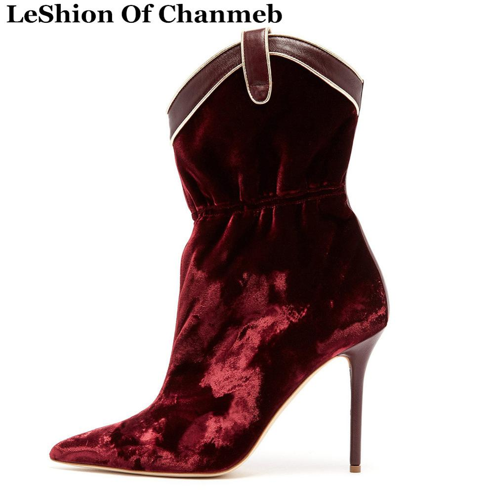 Sexy Women Ankle Boots Stiletto Heel Pointed Toe Short Boots Brand Velvet Western Boot Women Winter Shoe Zapatos De Mujer Size45