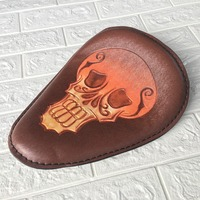 Motorcycle Retro Brown Torsion Leather Skull Logo Solo Seat+3 Spring Bracket Mounting Base Kit For Harley Bobber Saddle Seat
