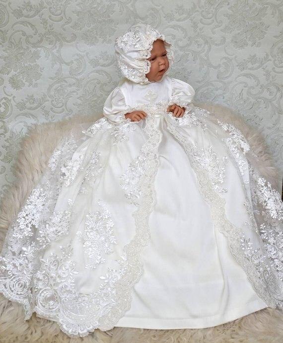 Винтаж белого цвета для маленьких девочек Крещение платье Кружева жемчуг сначала платье на день рождения наряд для крещения для девочек кр