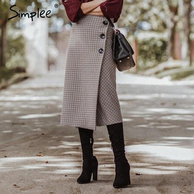 Simplee Élégant long plaid jupe femmes Automne hiver taille haute dames jupe portefeuille crayon Vintage partie de noël jupe avec fente