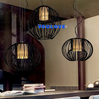 Nordic Classic Iron Cages Single Droplight Modern Round Pendant Lights Fixture Home Indoor Lighting Dining Room Restaurant Lamp nordic art shadow crystal droplight dining chandeliar for restaurant household indoor decorative lighting single head led lamp