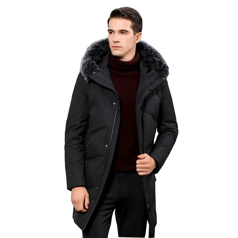 2018 Winter Black Cotton coat 2018 Men's Park Warm jacket More size M XXL 3XL Men's Long Hooded Big Fur Collar Fashion Coat