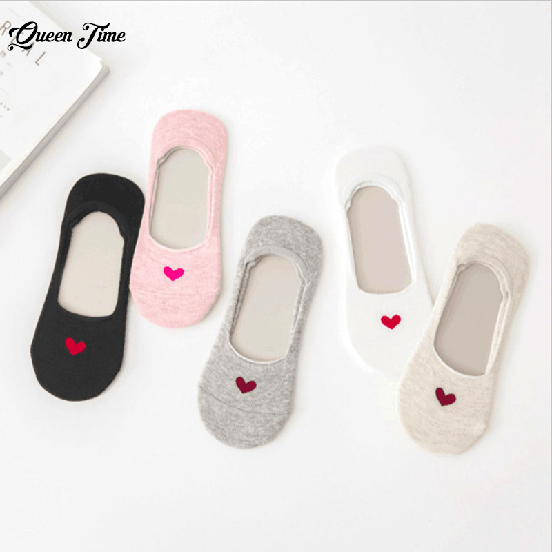 5 Pairs New Arrivl Women Cotton Socks Pink Cute Cat Ankle Socks Short Socks Casual Animal Ear Red Heart Gril Socks 35-40 Socks