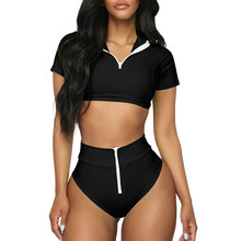 912e0ff476 Ms. Split Sports Zipper Swimsuit Bikini Solid Color Conservative Seaside  Swimsuit Drop ship push up