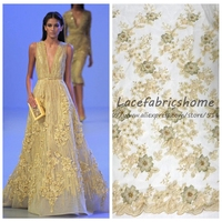 Light green/gold/off white pearls beadeds 3D chiffon flowers heavy lace fabrics for evening wedding dress 130cm by yard
