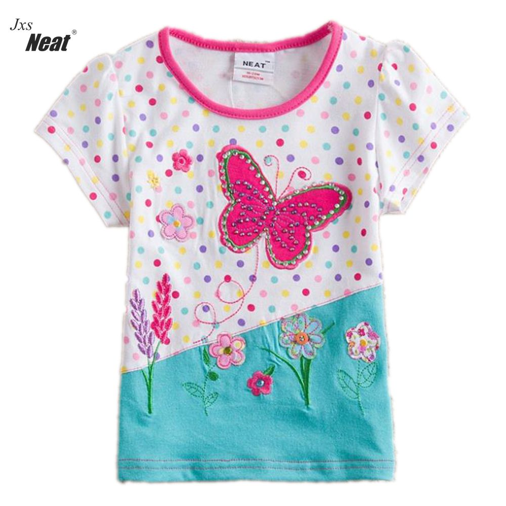 2017 baby girl t-shirt clothes short sleeve summer t-shirt fashion Round neck embroidery girl kids clothes cotton T-shirt S2132 stylish short sleeve round neck high low hem tower and letter print t shirt for women