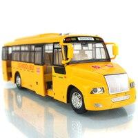 1:32 Tire Hacia Atrás de Aleación Modelo de Autobús Escolar/Go Acústico-Óptico de Cuatro Puertas Se Pueden Abrir De Neumáticos De Caucho Niños Modelo de Coche de Juguete de Regalo