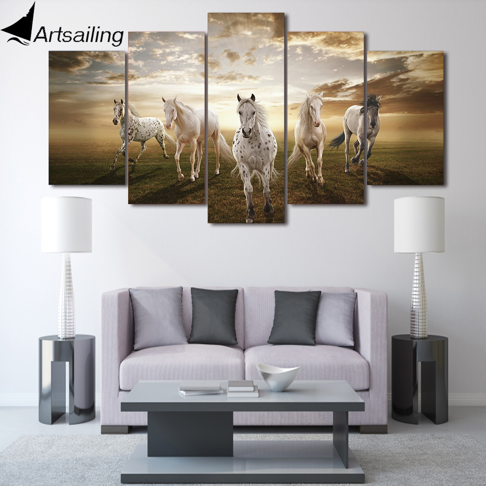 Canvas Art Printed Horses Animal Cloud Horse Painting Canvas Print Room  Decor Print Poster Picture Canvas Free Shipping/NY 5869