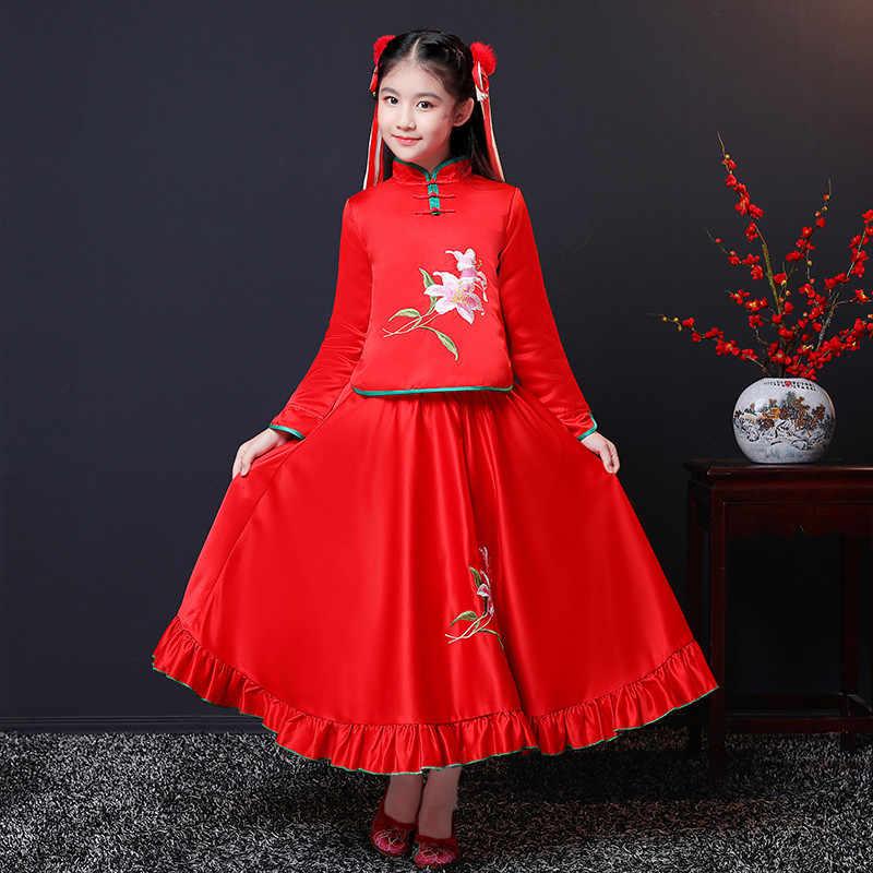 Invierno cálido niños niñas Han chino ropa de princesa rojo trajes niños  Tang traje de Año 6b3975a8362
