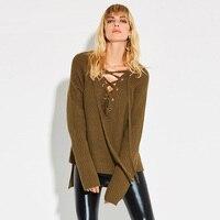 Women Casual Knitwear 2018 Autumn Army Green Plain Sexy V Neck Slim Asymmetric Long Sleeve Lace