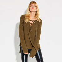 Women Casual Knitwear 2018 Autumn Army Green Plain Sexy V Neck Slim Asymmetric Long Sleeve Lace