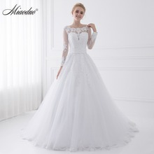 New Arrival Vestido de Noiva 2018 Long Sleeve Wedding Dresses Sheer Tulle Back Sexy Bride Dresses Wedding Gowns Pearls Princess(China)