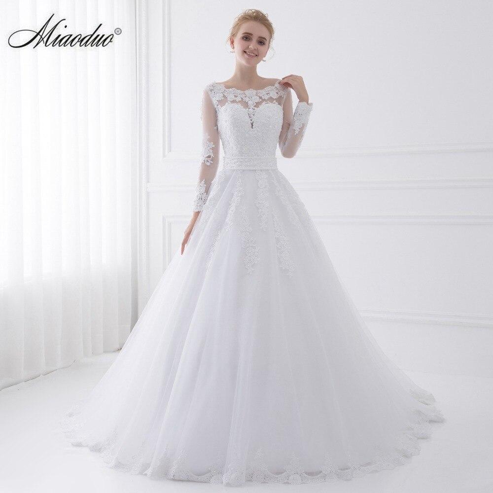 New Arrival Vestido de Noiva 2018 Long Sleeve Wedding Dresses Sheer Tulle Back Sexy Bride Dresses Wedding Gowns Pearls Princess