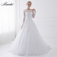 New Arrival Vestido de Noiva 2019 Long Sleeve Wedding Dresses Sheer Tulle Back Sexy Bride Dresses Wedding Gowns Pearls Princess