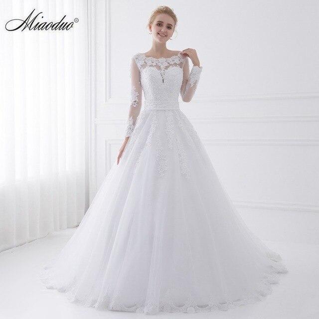 Nova Chegada Vestido de Noiva 2018 Vestidos de Noiva Manga Longa Sheer Tulle Voltar Sexy Vestidos de Noiva Vestidos de Casamento Pérolas Princesa