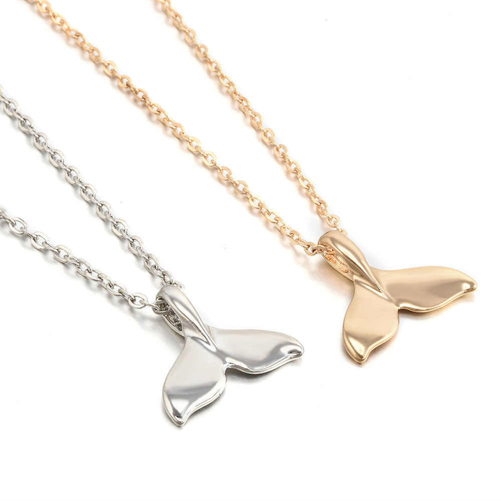 New Design Fish Whale Tail Pendant Necklace for Women Vintage Gold Silver Color Female Jewelry Link Chain Gift