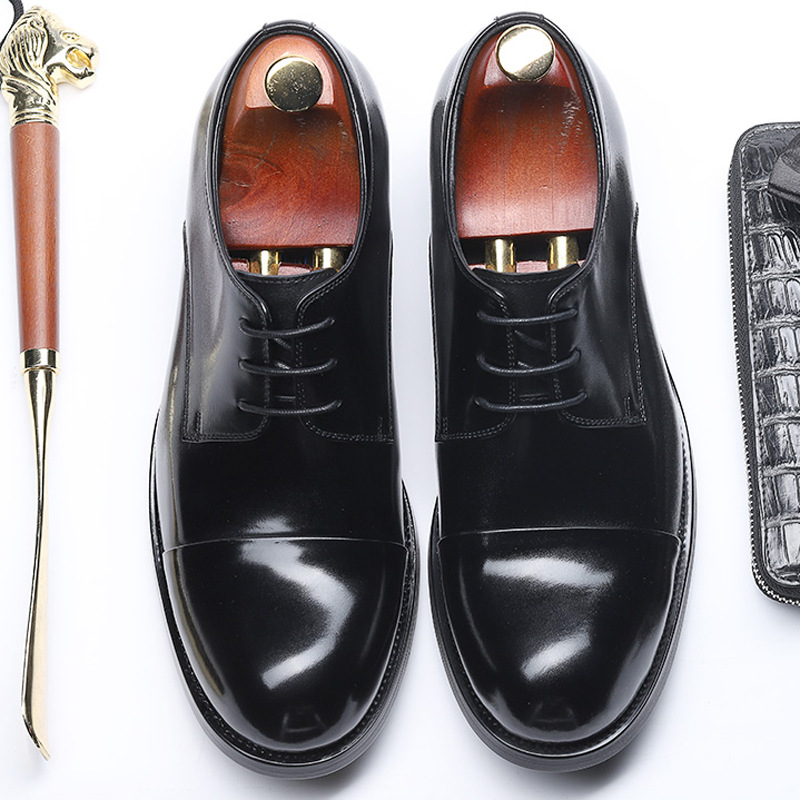 2019 Male Genuine Leather Shoes Round Toe Men Dress Shoes Lace up High Quality Business Leather Shoes Black Flats in Formal Shoes from Shoes