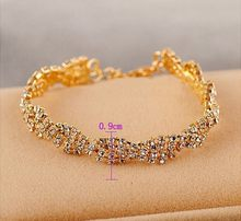 2019 new Luxury Gold Color Chain Link Bracelet for Women Ladies Shining Cubic Zircon Crystal Jewelry(China)