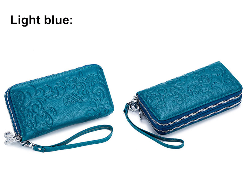 CICICUFF Genuine Leather Wallet Women Floral Female RFID Purse Long Leather Clutch Money Bag Double Zipper Ladies Wallets Purses