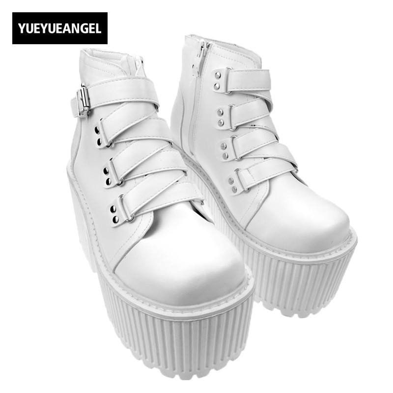 White Gothic Punk Womens Buckle Shoes Rock Woman Super High Platform Ankle Boot Thick Heel Shoes Knight Boots womens punk ankle boots chunky heels platform side zip leather moto shoes woman high heel thick heel platform motrocycle boot
