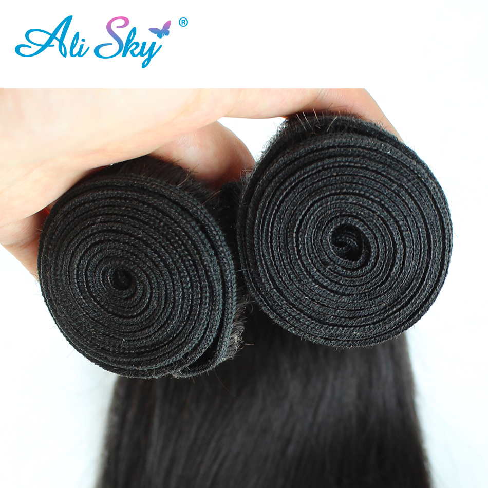 Ali Sky 4pcs per lot Peruvian Straight Human Hair Weaves 3 Bundles with 1pc 4x4 Lace Closure Three Part Remy  No Tangle