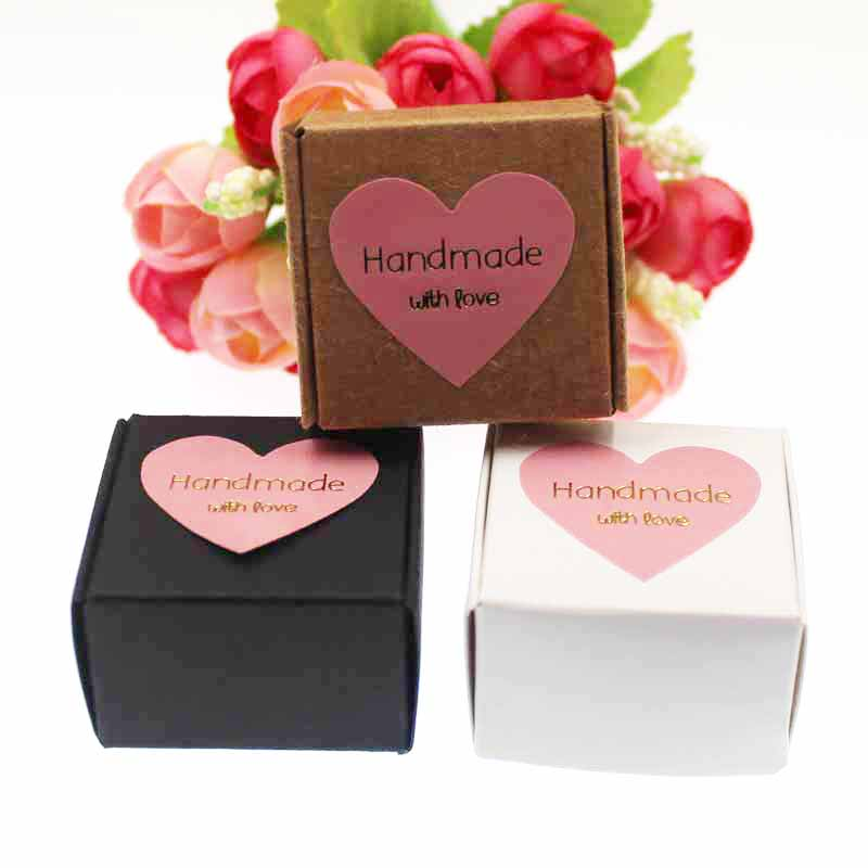 50pcs Kraft/white/black Velvet Sponge Inside Ring Packing Box With Self Seal Sticker Label For Gifts / Ring Products Decorative