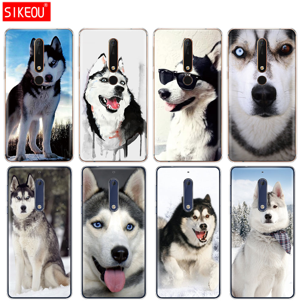 silicone cover phone <font><b>case</b></font> for <font><b>Nokia</b></font> 5 <font><b>3</b></font> 6 7 PLUS 8 9 /<font><b>Nokia</b></font> 6.1 6 2018 funny Husky <font><b>Dog</b></font> image