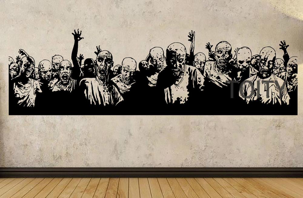 Zombie coming poster wall sticker the walking dead vinyl for Mural walking dead