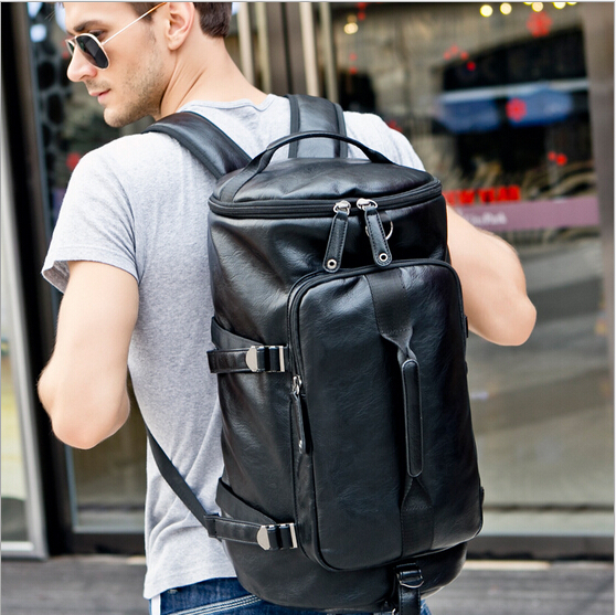 Hot 2017 Men leather travel bags for men large capacity travel duffle for men leisure weekend bags travelling backpack GB00007 цены