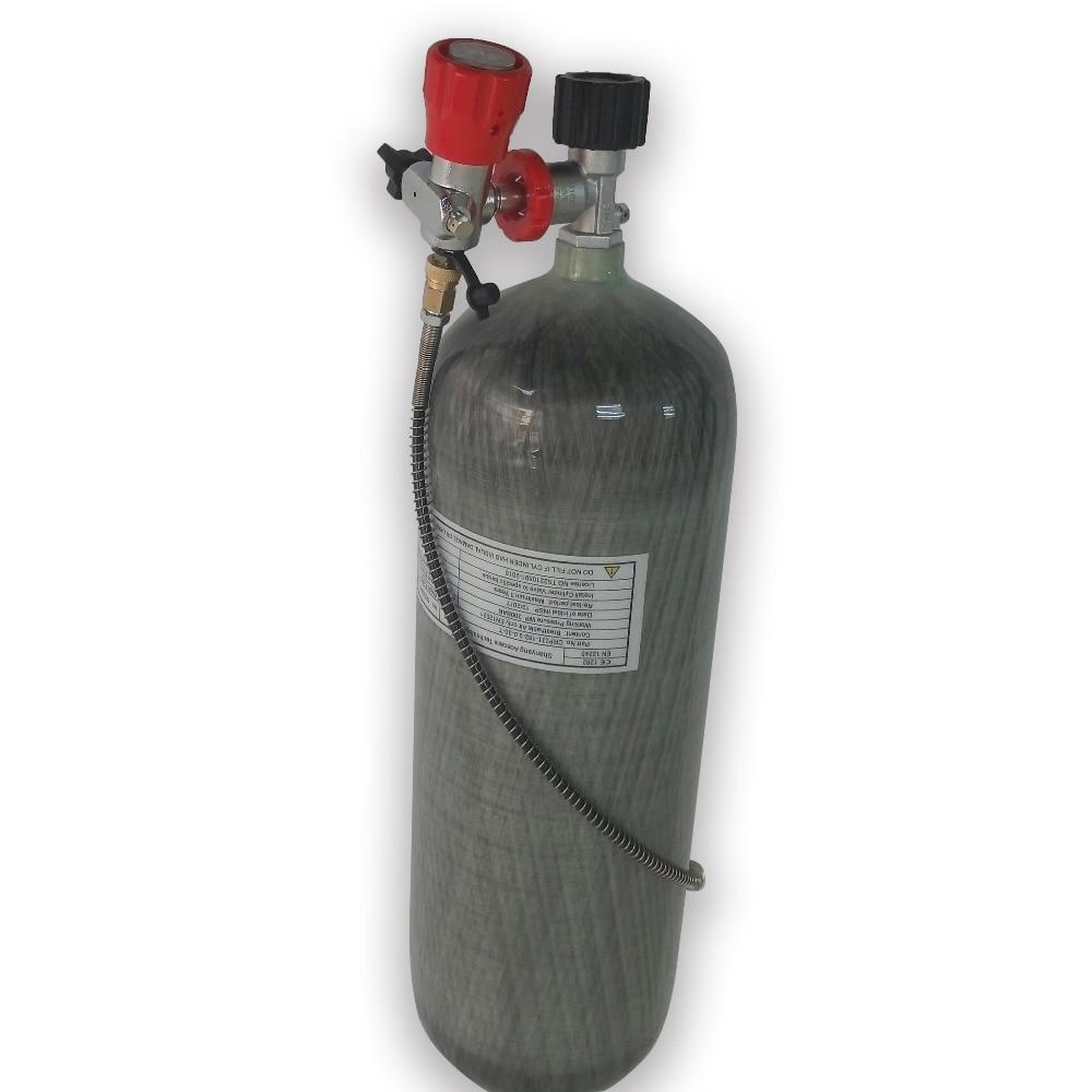 AC109100 Refill Whole Set 9L 4500Psi 300Bar Carbon Fiber Cylinder + Gauge Valve+Filling Station With Hose + Protect Cup