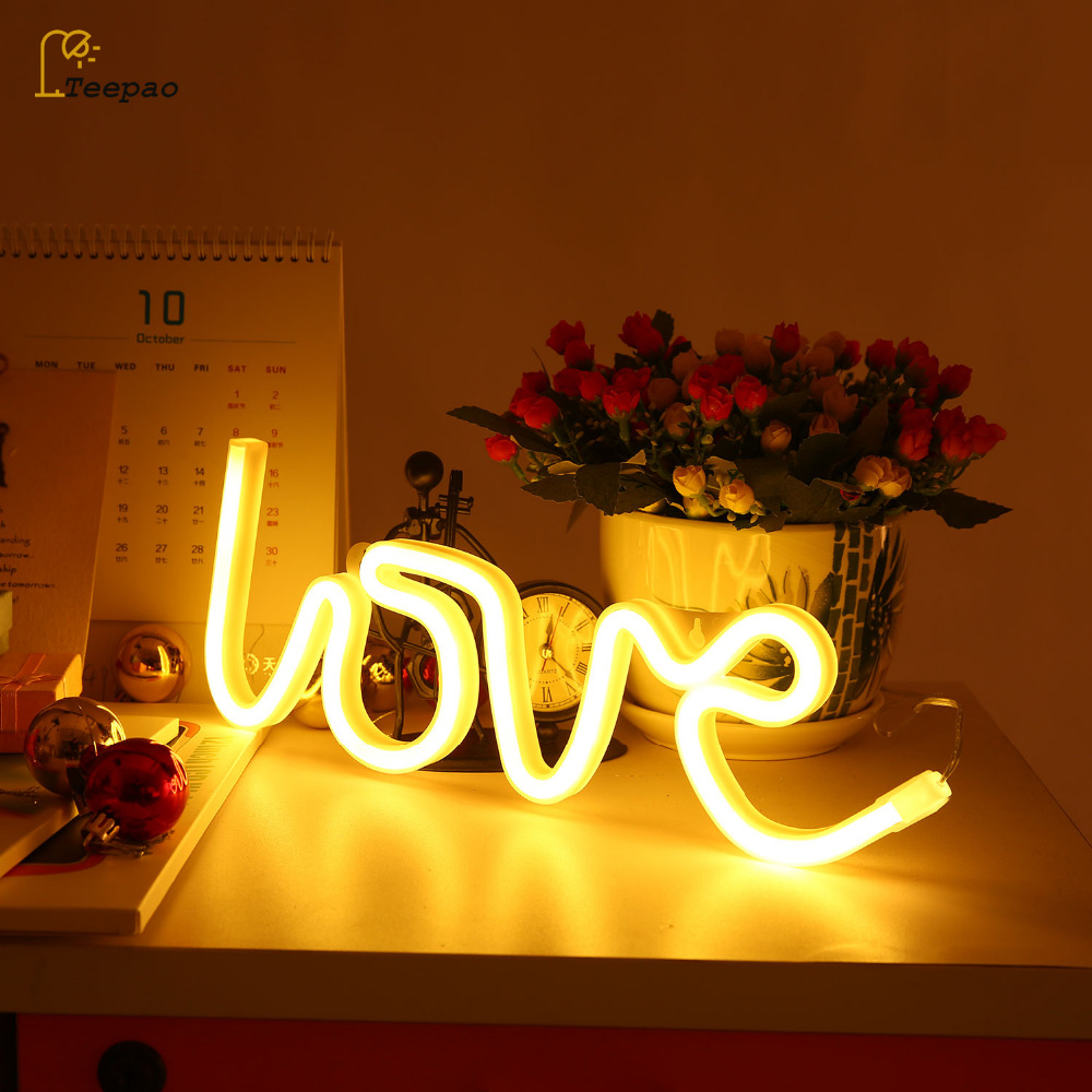 Novelty Ins Letter LOVE Neon Night Light Lamp Strip Warm White Pink Operated by Battery/USB Wall Hanging For Home Wedding Decor