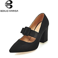 BONJOMARISA Women S Sexy Pointed Toe Mary Jane Pumps 2018 Party Wedding Buckle Bowtie High Heels