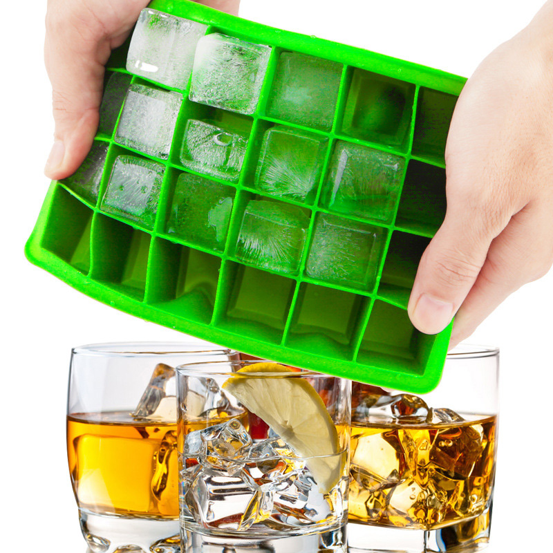 24 Grid Ice Cube Mold Square Bentuk silikon Ice Tray Easy Release Ice Cube Maker DIY Buah Ais Mold Home Bar Aksesoris Dapur