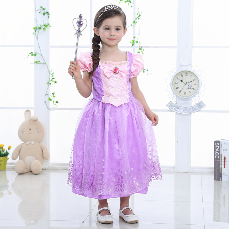 Girls Rapunzel Princess Dress Costume For Childdren Halloween Party  Cosplay Size S-XXL
