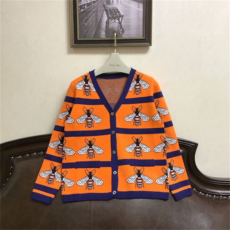 2018 Luxury Designer Brand Spring Cardigans Women V Neck Bees Jacquard Color Matching Single Breasted Knitted Sweater Orange
