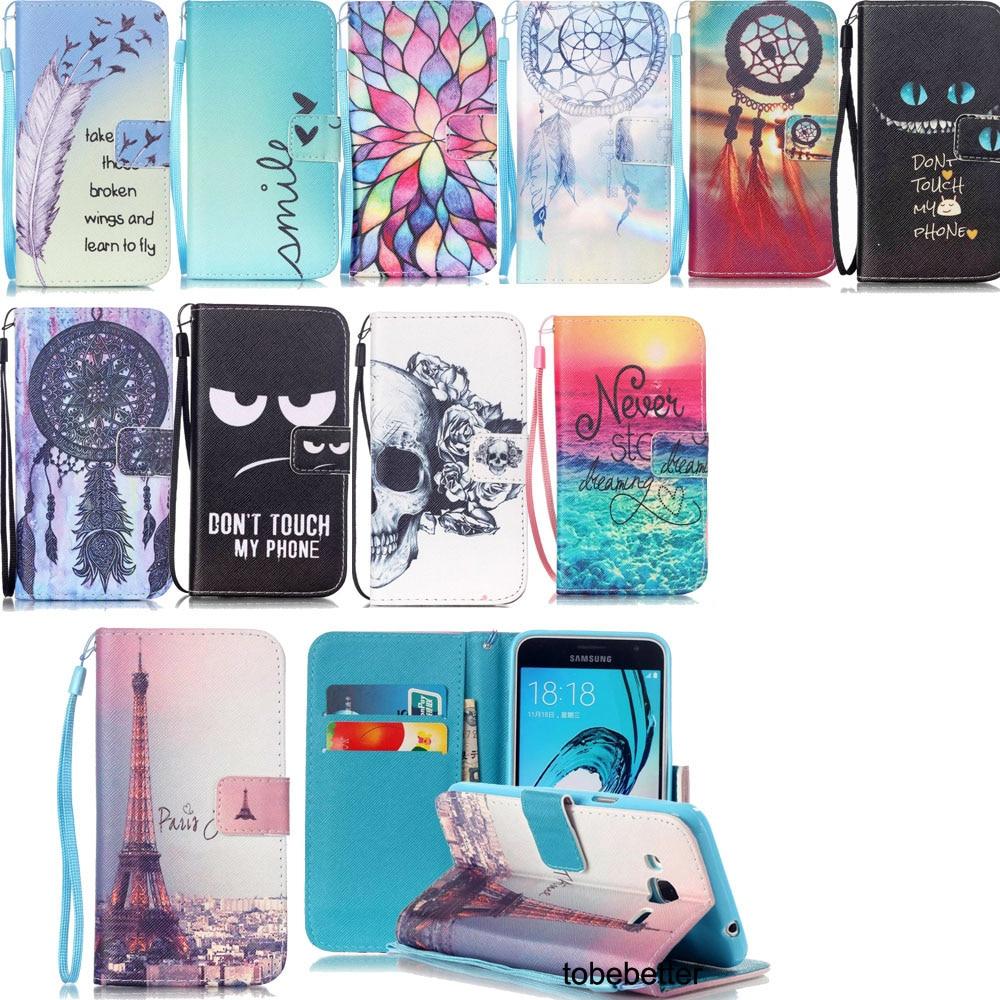 Plånbok PU-läder Foliomönstrad plånbok Flip Case Cover Inbyggda kortplatser för Samsung Galaxy J3 J3 2016 A3 A5 2016 J5 J7 2016