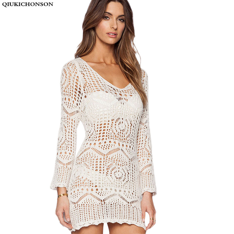 Qiukichonson Knitted Summer Tops Sexy Beach Cover Up Hollow Out Crochet V-neck Long Lace Shirt Women Long Sleeve Lace Blouses