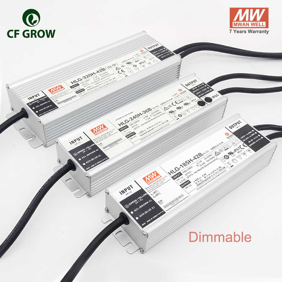Meanwell Dimmable 185 W 240 W 320 W Pilote HLG-185H-42B HLG-240H-36B, HLG-320H-42B LPC-60-1400, APV-12-12 Sortie alimentation LED Adaptateur