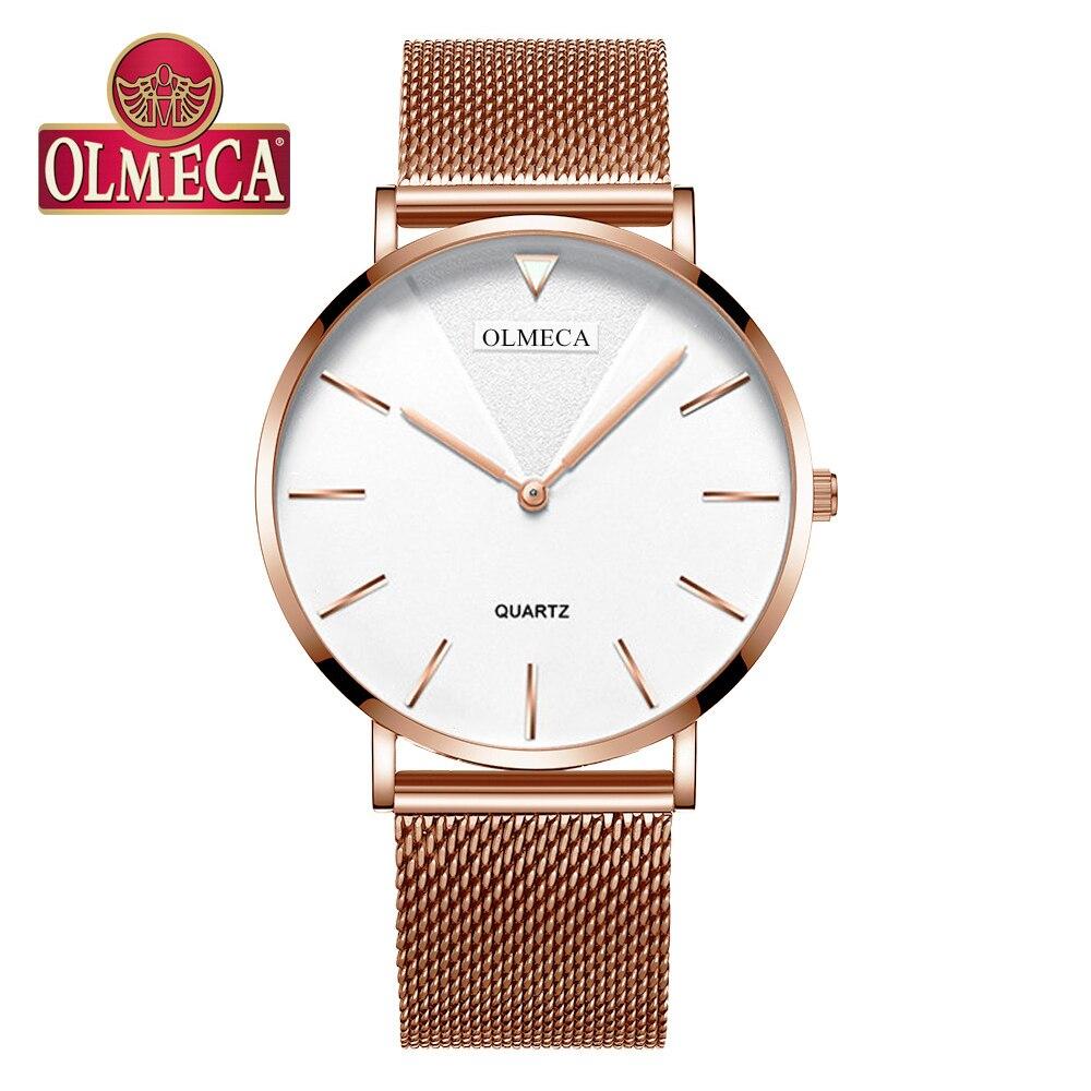 2019 Simple Women Fashion Watches Quartz Ultra Thin Ladies Wrist Watches Luxury Brand Rose Gold Steel Mesh Waterproof Girls Cloc
