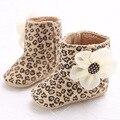 Nueva Moda Linda Flor Infant Toddler Girls Princess Otoño Invierno Leopardo Zapatos de Bebé Recién Nacido Prewalker Botas Botines 0-1 T