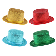Kids Adults Satin Glitter Sequins Top Hat, Magician Gentleman Cap, Funny Circus Fancy Dress Party Hat magician s gambit
