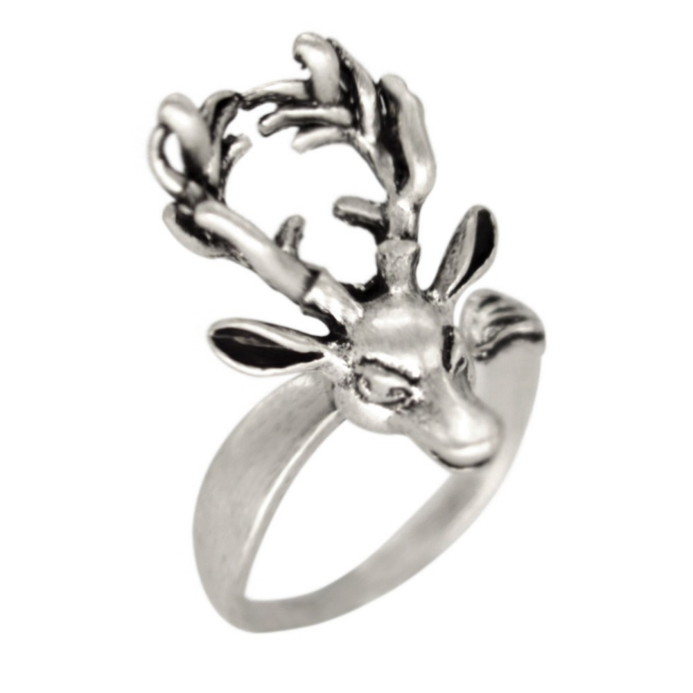 Qiming Christmas Jewelry Adjustable Retro Deer Ring Antler Antique Silver  Animal Ring Forest Vintage Jewelry Fashion